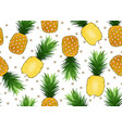 pineapple seamless pattern on white background vector image vector image