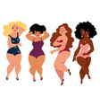 plump curvy women girls plus size models in vector image vector image