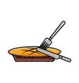 pumpkin pie with fork knife food thanksgiving day vector image vector image