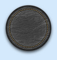 round leather stitched label realistic black tag vector image