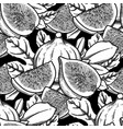 seamless pattern fig fruits and leaves vector image
