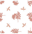 seamless pattern with hand drawn pastel rowan vector image vector image