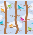 seamless repeating pattern with birds and trees vector image