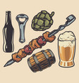 set elements on theme barbecue and beer vector image vector image