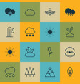 set of 16 landscape icons includes sprout rain vector image vector image