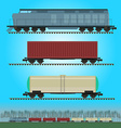 Set of freight train cargo cars Container tank vector image