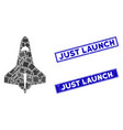space shuttle mosaic and scratched rectangle just vector image vector image