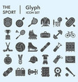 sport solid icon set summer and winter activity