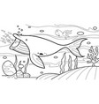 whale under sea coloring book vector image vector image
