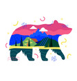 with abstract bear silhouette mountain landscape vector image vector image