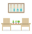 Wooden Garden Chairs With Plants And Tools vector image vector image