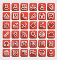 Flat Icons Social Media Red Set vector image