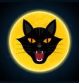 halloween growl black cat head and moon vector image