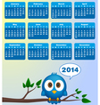 2014 calendar with funny blue bird vector image vector image