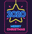 2020 christmas neon greeting card vector image vector image