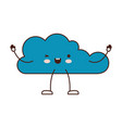 animated kawaii cloud icon flat in colorful vector image vector image