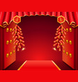asian temple door decorated with curtainsfirework vector image vector image