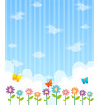 background design with flowers and blue sky vector image
