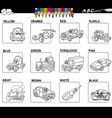 basic colors activity worksheet for coloring vector image vector image