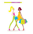 beautiful young women with shopping bags isolated vector image vector image