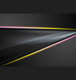 black abstract smooth background with neon lines vector image vector image