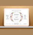 blossom flowers wedding invitation card vector image