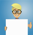 Boy holding a blank form vector image vector image
