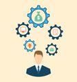 Businessman Head with Cogwheels vector image vector image