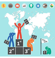 Businessman is winner and world map vector image vector image