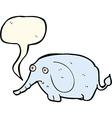 cartoon sad little elephant with speech bubble vector image vector image