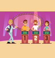 clever young people playing quiz game show vector image vector image