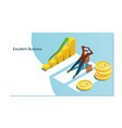 concept business growth with an upward arrow vector image vector image