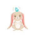 cute cartoon bunny with egg on its head funny vector image vector image