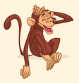 cute cartoon drawing of a monkey sitting vector image vector image