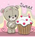 cute cartoon teddy bear with cake vector image