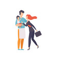 dad holding baby meeting mother after work vector image