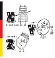 deutsch alphabet xylophone yeti lemon vector image vector image
