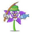 fishing columbine flower mascot cartoon vector image
