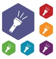Flashlight hexagon icon set vector image vector image