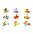 flat set with cute animals flying in vector image