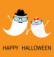 happy halloween ghost spirit family set with lips vector image