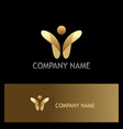 happy man abstract gold logo vector image vector image