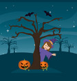 happy witch back tree with happy pumpkin and bats vector image
