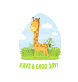 have a good day banner template with cute giraffe vector image