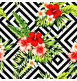 hibiscus and palm leaves tropical pattern black vector image vector image