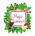 magic summer background beach design jungle vector image vector image
