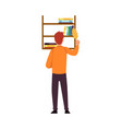 man cleaning up dust from book shelves cleaner vector image vector image