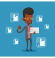 Man with like social network buttons vector image vector image