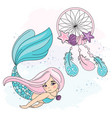 mermaid dreamcatcher sea travel clipart vector image vector image