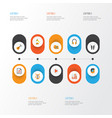 multimedia flat icons set collection of male vector image vector image